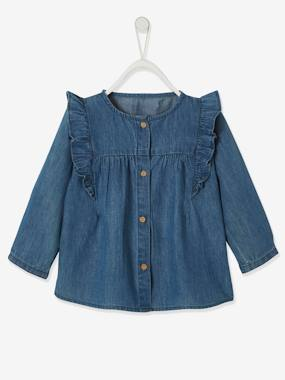 Blouse in Lightweight Denim with Ruffle, for Babies denim blue